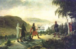 Egill Skallagrímsson engaging in holmgang with Berg-Önundr. Johannes Flintoe