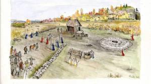 Posible reconstrucción del yacimiento de Ranheim, cerca de Trondheim, en Noruega.