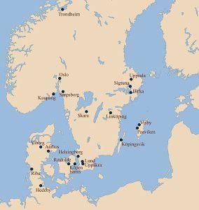 Enclaves vikingos de Escandinavia.
