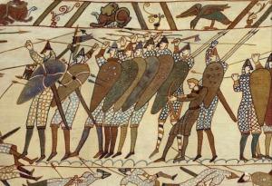 Escudos de cometa en el Tapix de Bayeux.