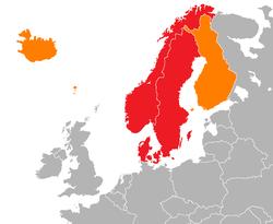 Escandinavia - Noruega, Suecia y Dinamarca (rojo) Islandia, Feroe, Isla de Aland y Finlandia (naranja)