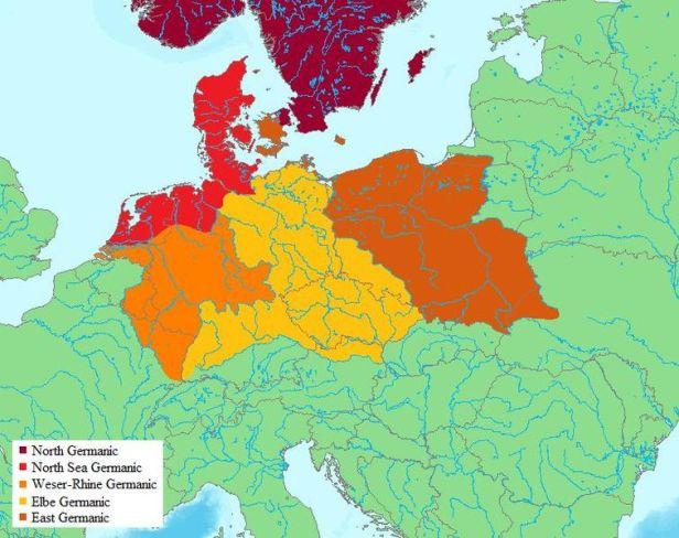 Grupos de tribus germanas entorno al año 1 d.C.