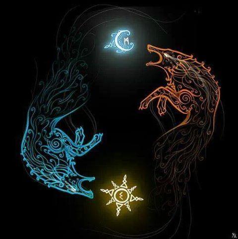 Sköll y Sól, Hati y Máni. Los lobos que persiguen al sol y la luna. Imagen extraída de internet.