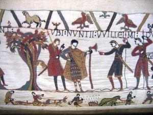 Daneaxe o hacha de guerra en el Tapiz de Bayeux.