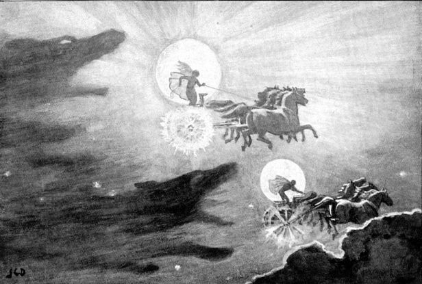 The Wolves Pursuing Sol and Mani. Imagen de John Charles Dollman,1909.