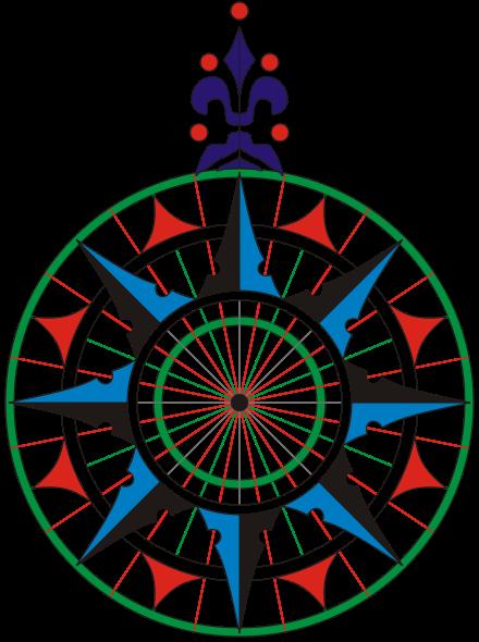 Copia de la rosa de los vientos de la carta náutica de 1504, del navegante portugués Pedro Reinel. Es la primera rosa de los vientos conocida que representa claramente la flor de lis como símbolo del Norte