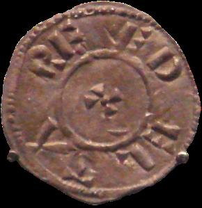 Moneda de Guthrum (Athelstan II), rey del Danelaw.