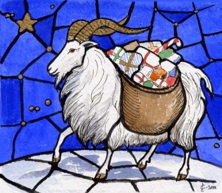 Yule Goat, con regalos.