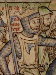 Svein Barba Partida o Barba Horquillada, imagen del siglo XIII.