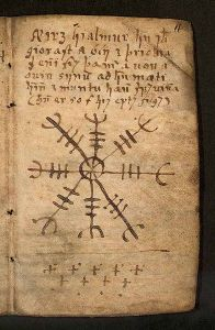 El Ægishjálmr o Ægishjálmur entre las páginas del Galdrabók.