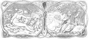 Ilustración para la parte correspondiente a La profecía de la vidente de la traducción danesa de Karl Gjellerup de los Edda (Den ældre Eddas Gudesange, 1895): una giganta alimentando lobos, y Eggthér tocando el arpa mientras el gallo Fjalar anuncia el comienzo del Ragnarök.
