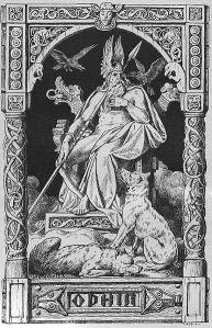 Odín. Ilustración del año 1888 realizada por Johannes Gehrts