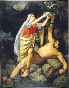 Loki y Sigy, Mårten Eskil Winge, 1890.