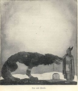 Týr and Fenrir (1911) por John Bauer.
