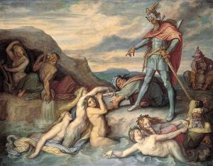 Gunther manda a Hagen que oculte el tesoro en el Rin. Pintura de Peter von Cornelius. 1859.