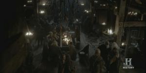 Grtan Salón de la granja vikinga.