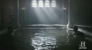 Ragnar y Egberto en las termas o en el baño.