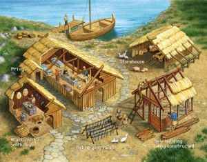 Aspecto de una granja vikinga.
