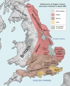 Mapa general de la localización de los pueblos anglosajones alrededor del año 600.