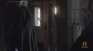 El Rey Egberto atendiendo a la mujer maltratada.