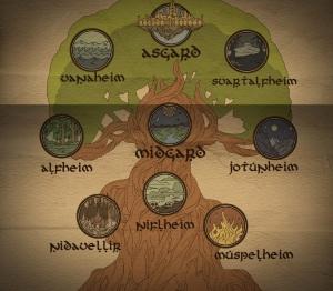 Los 9 mundos del Yggdrasil.