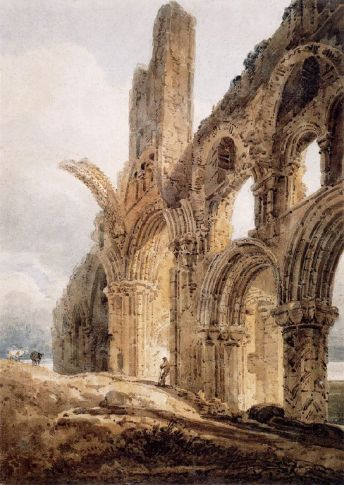 The Ruins of Lindisfarne Priory, by Thomas Girtin, 1798. The priory's rainbow arch, which survives, is shown truncated for artistic effect.