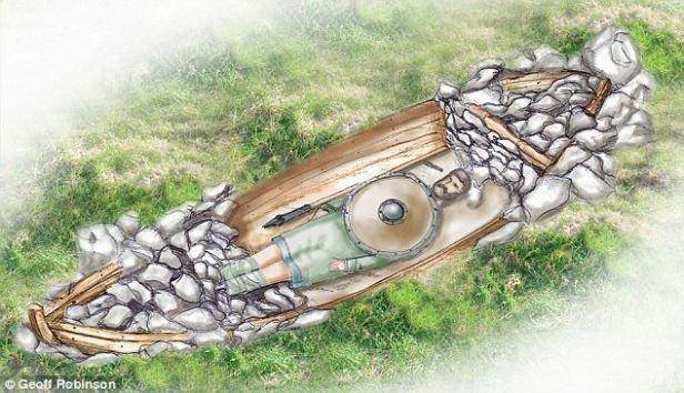 Ejemplo de entierro en barco funerario.