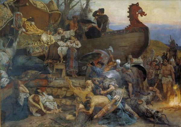 Funeral vikingo del jefe varego Igor de Kiev en el Rus de Kiev. Cuadro de Heinrich Semiradzki (1845-1902).