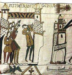 Representación del cometa Halley en la escena XXXII del Tapiz de Bayeux. La inscripción en latín dice Isti mirant stella