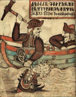 Thor pescando a Jörmungandr. Esta ilustración de esa escena es de un manuscrito islandés del siglo XVIII.