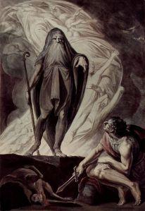 Tiresias aparece ante Odiseo durante el sacrificio, Heinrich Füssli, 1780-85, Graphische Sammlung der Albertina (Viena).
