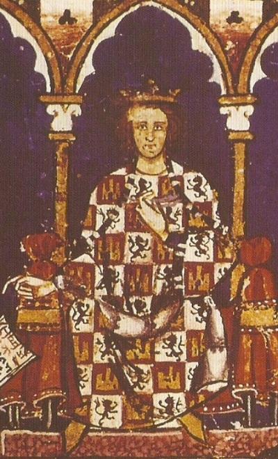 Alfonso X en una miniatura medieval del Libro de los juegos