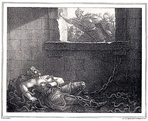 Ragnar en el pozo de las serpientes según el artista Hugo Hamilton.