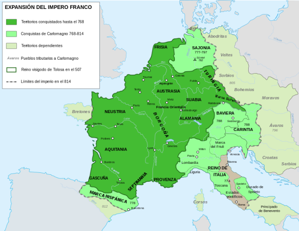 Imperio Carolingio. Fuente Wikipedia.