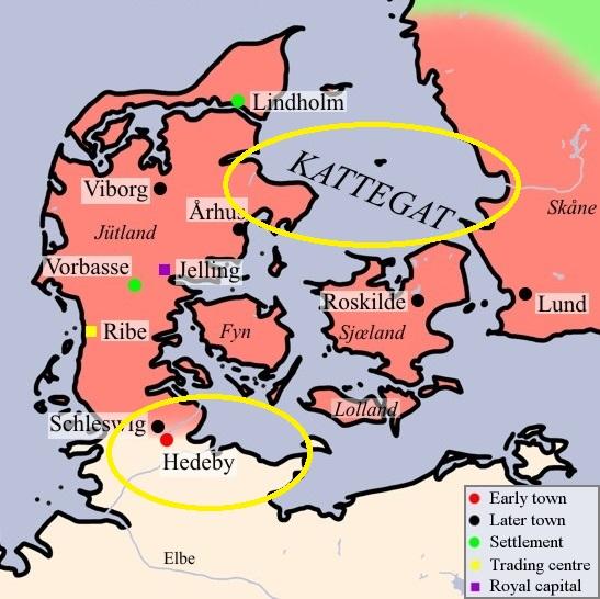 Estrecho de Kattegat y asenamiento de Hedeby marcados en amarillo.