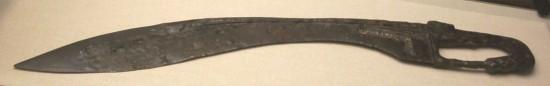 Falcata del siglo IV a. C., en el M.A.N. (Madrid).