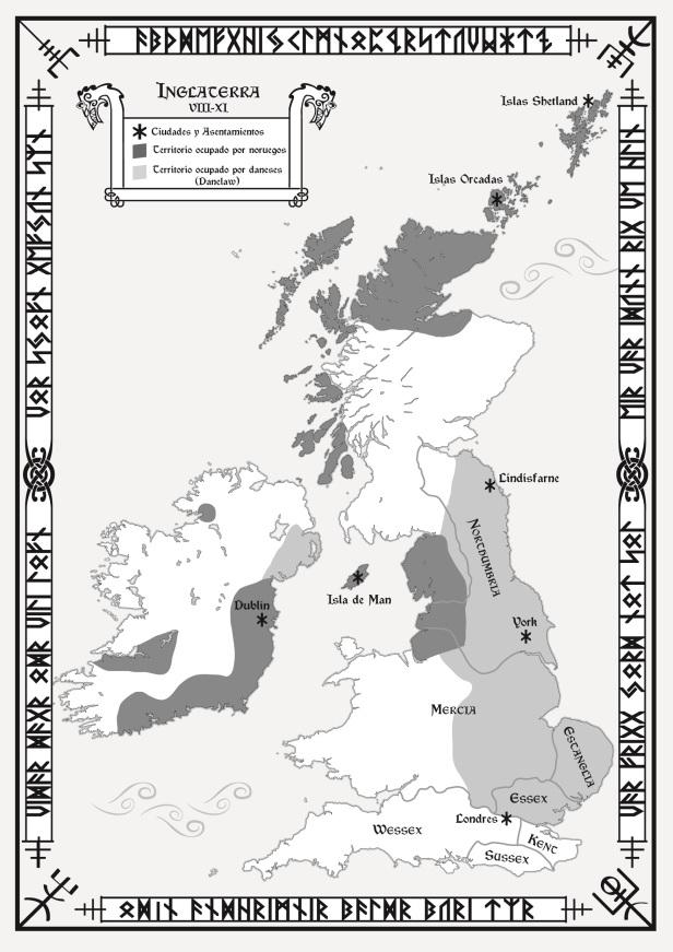 Mapa Heptarquía Anglosajona. Realizado por Jalbert AMV - Design para The Valkyrie's Vigil.  © Todos los derechos reservados // All rights reserved.