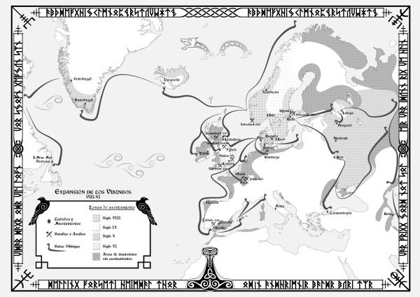 Mapa Incursiones Vikingas. Realizado por Jalbert AMV - Design para The Valkyrie's Vigil.  © Todos los derechos reservados // All rights reserved. PROHIBIDO su uso o apropiación indebida.