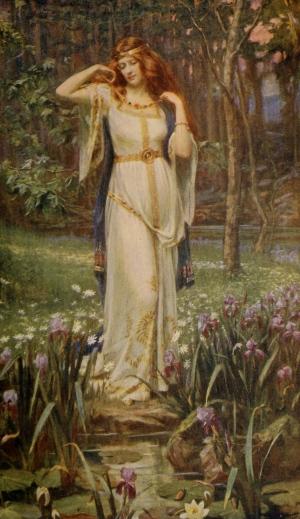 "Cuadro ""Freyja y su collar"" del pintor Arthur Rackham."