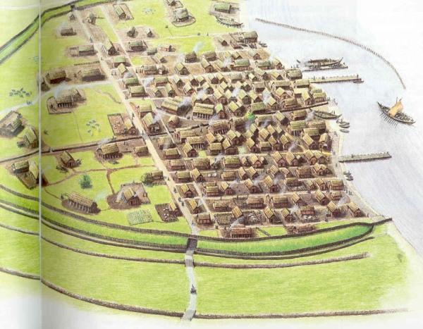 Reconstrucción de lo que habría sido el asentamiento vikingo de Hedeby.