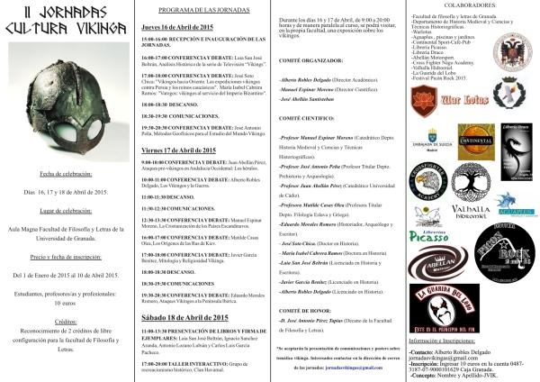 Tríptico y Cartel II Jornadas sobre Cultura Vikinga Universidad de Granada (pinchar para ver más grande)
