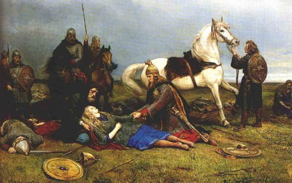 Hervör muriendo tras  la batalla con los hunos. Una pintura de Peter Nicolai Arbo. Hervör o Hervor es el nombre de varios personajes femeninos legendarios, que aparecen en la saga Hervarar y algunas secciones de la Edda poética, también es una valquiria de la mitología nórdica que casó con Völundr y aparece en el Völundarkviða.