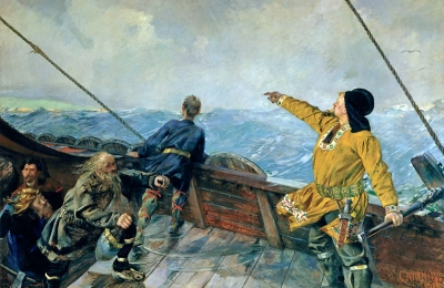 Leiv Eiriksson Discovers America by Christian Krohg (1893)