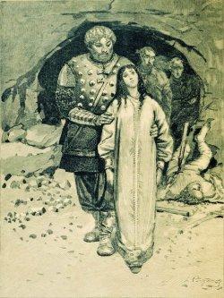 Dobrynia Nikítich. Ilustración del libro Bogatýrs de bylinas rusas. Por Andréi Riábushkin. 1895.