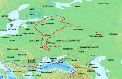 La Rus de Kiev al principio del reinado de Sviatoslav (en rojo) y su área de influencia (en naranja) hacia el año 972.