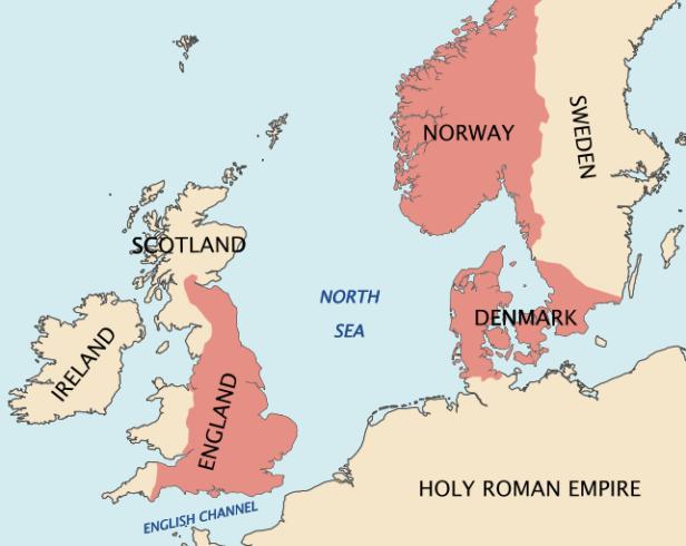 Territorios gobernados por Canuto el Grande hacia 1030