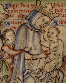 La reina Emma de Normandía con dos de sus hijos en una ilustración del siglo XIII.